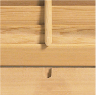 Timberlane wood shutter showing mouse hole detial for tilt rod
